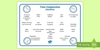 Time Conjunctions Word Mat English/German -  time connectives,time, connectives, EAL, German, learning German,German-translation