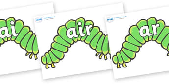 Phase 3 Phonemes on Hungry Caterpillars to Support Teaching on The Very Hungry Caterpillar - Phonemes, phoneme, Phase 3, Phase three, Foundation, Literacy, Letters and Sounds, DfES, display