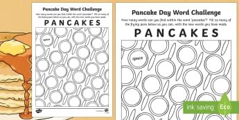Pancake Day Word Challenge Activity Sheet - CfE, Pancake Day, shrove tuesday, pancake, word, puzzle, game, challenge, unscramble, mixed up, find