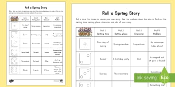 Spring Roll a Story Activity - Spring, First day of Spring, storytelling, story writing, spring, themes, seasons, english, writing