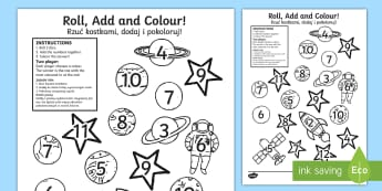 Space Roll and Colour Dice Addition Activity English/Polish  - Space Roll and Colour Dice Addition Activity - space, addition, spce, +, adition, soace, spcae, addi