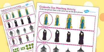 Rapunzel Size Matching Worksheets - rapunzel, size, match, sheet
