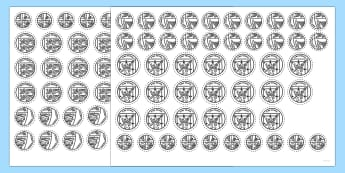 Coins up to 20p Cut-Outs - Measurement, british coins, number bonds to 20
