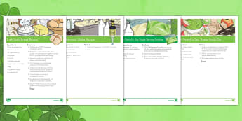 St. Patrick's Day Classroom Recipes Resource Pack - St. Patrick's Day,recipe, food, dessert, green, pudding, apple, soda bread, shake,