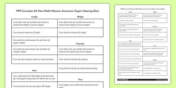 Curriculum 6th Class Maths Measures Assessment Targets Colouring Sheet - roi, gaeilge, ireland, republic of ireland