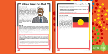 William Cooper Fact Sheet  - Australia, NAIDOC Week, History, Famous Australians, Famous Aborigines, Influential Australians, Inf