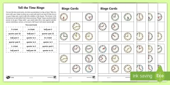 Year 2 Maths Tell the Time Bingo Homework Activity Sheet - year 2, maths, homework, bingo, time, clocks, o'clock, half past, quarter past, quarter to, time ga
