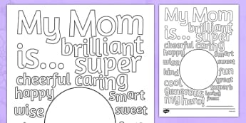 Mother's Day Describing Words Card - usa, mothers, day, words, card