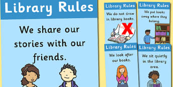 Library Rules Display Posters Illustrations - library rules, library, rules, illustrations, display, poster, sign, keep quiet, quiet, silence, reading, books, reading area, images, pictures