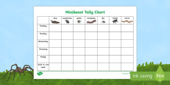 Minibeast Tally Chart Activity Sheet - World Around Us Resources, worksheet
