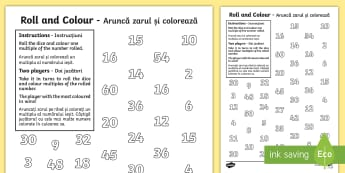 Multiplication Roll and Colour Activity Sheet English/Romanian - Multiplication Roll and Colour One Dice - roll and colour, number, mulitplication, multipication, EA