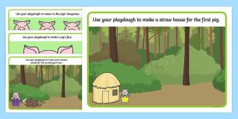 The Three Little Pigs Playdough Mat - three little pigs, stories