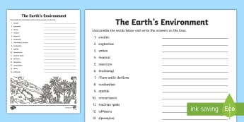 The Earth\'s Environment Word Unscramble - The Earths Environment, Geography, English, Spelling, Unjumble, Year 3, Year 4,Australia