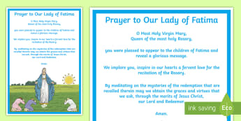 Prayer to Our Lady of Fatima Display Poster - Our Lady, Mary, Fatima, religion, prayer, apparition, christianity, catholic, sacred space,,Irish