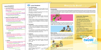 CfE First Level French Year 4 Where in the World? Planning Overview - CfE Planit Overviews, one plus two, modern languages, French, country, continent, where in the world