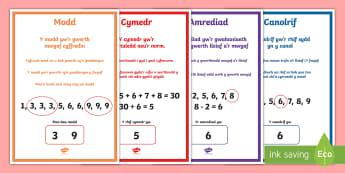 Pecyn Posteri Modd, Cymedr, Amrediad a Chanolrif - modd, cymedr, amrediad, canolrig, mathemateg, rhifedd,Welsh