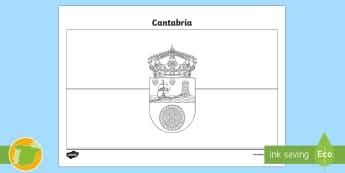 Hoja de colorear: la bandera de Cantabria - Mapas, provinicias, mapas mudos, mapas en blanco, las ciudades de españa, comarcas, concejos, comun