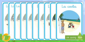 Póster DIN A4 Verano - verano, póster, playa, costa, margarita, mariposa, tormenta, camping, gafas de sol, crema solar, so