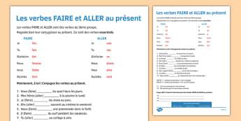 Le présent des verbes FAIRE & ALLER Present Tense FAIRE and ALLER French - french, present tense, faire, aller, tense