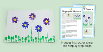Fingerprint Flowers Craft Instructions - flower, prints, crafts, fingerprint, instructions