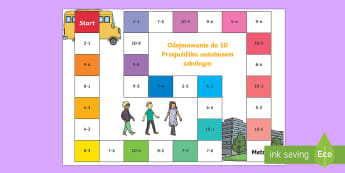 Gra planszowa Odejmowanie do 10 Przejażdżka autobusem szkolnym - odjąć, różnica, działania, liczby, matematyka, odejmij, liczenie,Polish