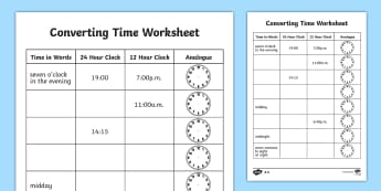 Converting Time Worksheet - converting time, time conversion, analogue clocks, digital clocks, reading the time, 24 hour clock, 12 hour clock, ks2