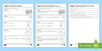 Religious Experience Revision Sheet Activity Sheet - Religious Experience; numinous; miracles; conversion; vision.