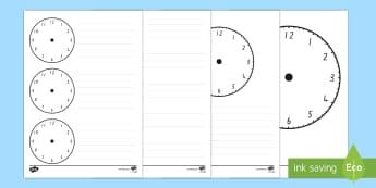 Blank Clock Templates - Time, Clock, Measurement, nz, maths moving, new zealand