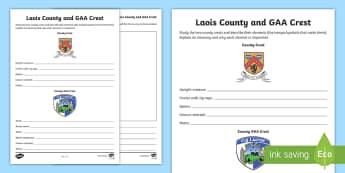 Laois County and GAA Crest Activity Sheet - Worksheet, GAA Football All-Ireland Senior Championship, GAA Hurling All-Ireland Senior Championship