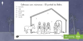 Colorear con números: El portal de Belén - Navidad, Belén, portal de Belén, belen, colorear con números, colorear con numeros, hoja de color