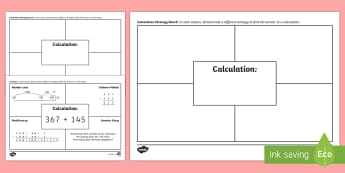 Calculation Strategy Board Activity Sheet - CfE Numeracy and Mathematics, number, money, measure, shape, position, movement, data handling, info