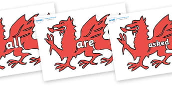 Tricky Words on Welsh Dragons - Tricky words, DfES Letters and Sounds, Letters and sounds, display, words