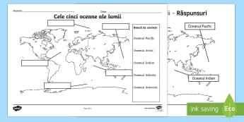 Cele cinci oceane ale lumii Fișă de activitate - oceane, geografie, oceanele lumii, ape, ocean, stiintele pamantului, pamantul, Romanian