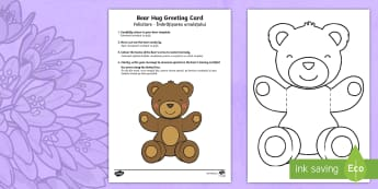 Mother's and Father's Day Bear Hug Greeting Cards English/Romanian - Mothers\' Day, Fathers\' Day, greeting card, template, bear hug, visual art, cutting, colour, da