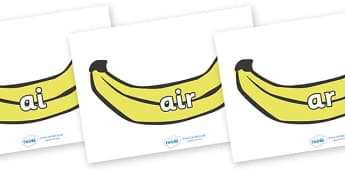 Phase 3 Phonemes on Bananas - Phonemes, phoneme, Phase 3, Phase three, Foundation, Literacy, Letters and Sounds, DfES, display