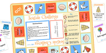 Seaside Challenge Board Game - seaside, seaside challenge, seaside game, seaside board game, seaside themed board game, seaside activity, beach, the beach
