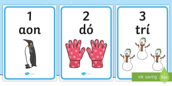 An Geimhreadh 1-10 Display Numbers - ROI - An Geimhreadh, winter, irish, gaeilge, numbers, counting, 1-10, maths display, Irish