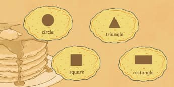 2D Shapes on Pancakes Display Posters - Pancake Day UK Feb 28th, shrove Tuesday, pancakes, lent, pancake day, display, posters, 2D shape