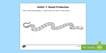 s Sound Production Snake Colouring Sheet Letters - s sound, s, sound production, colouring sheet, colouring, themed colouring sheets, colours, snake