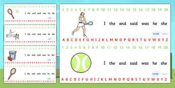 Wimbledon Themed Alphabet Strip - a-z strip, a-z, visual aid