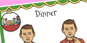 A4 British Sign Language Sign for Dinner - sign language, dinner