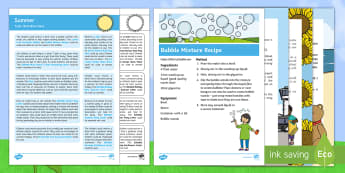 Summer Topic Hook Wow Ideas and Resource Pack - EYFS, Early Years, topic starters, Wow ideas, summer, sun, holidays, beach, seaside, ice cream, bubb