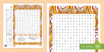 Symbols of Kwanzaa Word Search - Kwanzaa, Symbols of Kwanzaa, Word Search