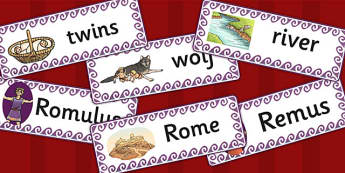 Romulus and Remus Word Cards - romans, rome, flash cards, card