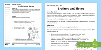 Brothers and Sisters Activity Sheet - Amazing Fact Of The Day, activity sheets, powerpoint, starter, morning activity, December, pie chart