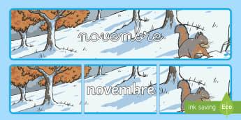 Banderole d'affichage: Novembre - Les mois de l'année - novembre, November, banderole, banner, display, panneau d'affichage, mois, months, year, année, cy