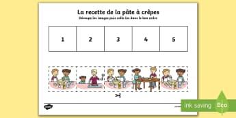 Images à ordonner : les étapes de la pâte à crêpes - Cycle 1, EYFS, KS1, recette, pâte à crêpes, chandeleur, candlemas, pancake batter, recipe,French