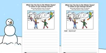 Winter Scene Writing Stimulus Picture Polish/English - Winter Scene Writing Stimulus Picture - winter scene, writing stimulus, picture, writing, write, sti