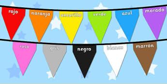 Colours on Bunting Spanish - colour, display, keywords, spain, spanish, espana, languages, translated