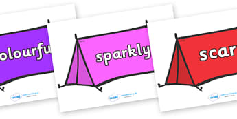 Wow Words on Tents - Wow words, adjectives, VCOP, describing, Wow, display, poster, wow display, tasty, scary, ugly, beautiful, colourful sharp, bouncy